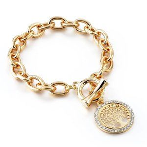 Rhinestone tree of life gold Link Chain bangles